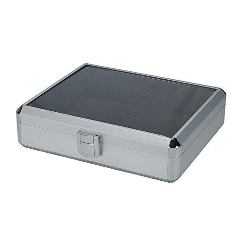 SRA Cases EN-AC-FG-C106 Clear Lid Aluminum Hard Case, 10.6 x 8.6 x 2.75'', Silver
