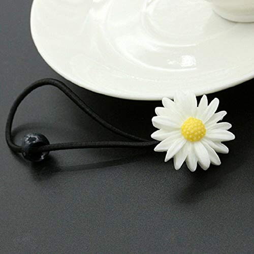 Girls Daisy Elastic Rubber Hair Ties Band Rope Hairpin Hair Clip Ponytail Holder (StyleID - Daisy Hair Ring-2)