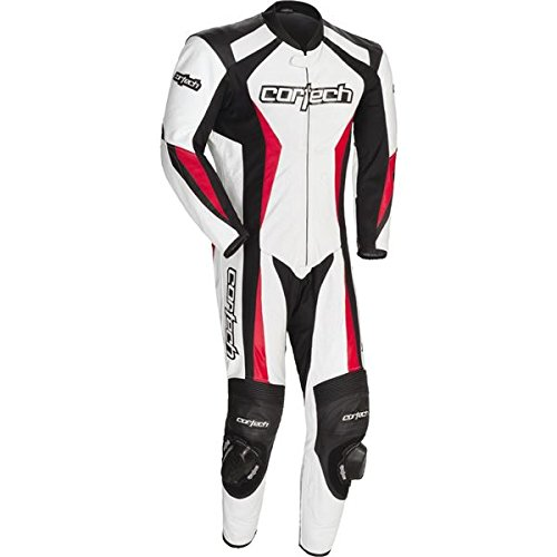 Cortech Latigo 2.0 Men's 1-Piece Leather Street Racing Motorcycle Race Suit - White/Red/Medium ()