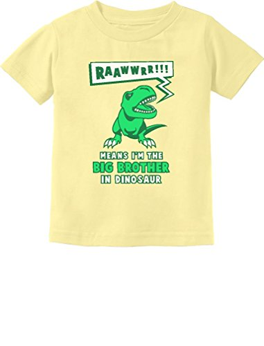 Big Brother in Dinosaur Trex Big Brother Gift Toddler/Infant Kids T-Shirt 4T Banana