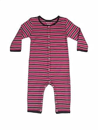 Organic Cotton Baby Romper One Piece Sleeper (0-3 months, Cream/Dark Pink/Taupe)