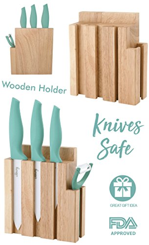 Ceramic Knives Set with Block. 6'', 5'' & 4'' Inches White Sharp Zirconium Blades & peeler in Wood Holder. Professional Chef Utensil for Kitchen. Cut & Slice effortlessly. Colorful camp chef knife. FDA by Wamery (Image #2)