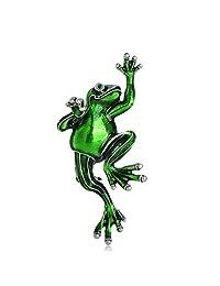 MECHOSE Green Frog Shape Brooch Alloy Enamel Animal Jewelry Pins Bag Hat Scarf Buckles Unisex Women