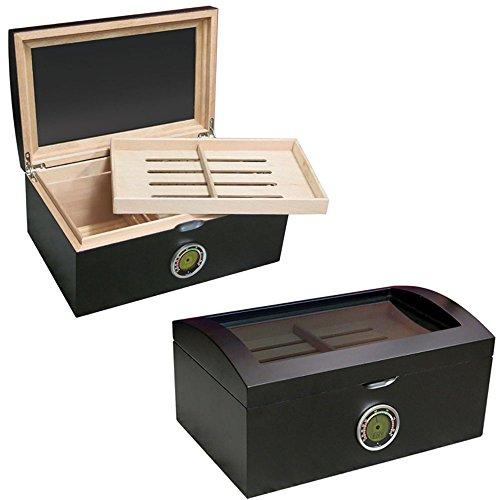 - Prestige Import Group - The Portofino Domed Glass Top Cigar Humidor - Color: Matte Black Finish