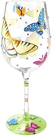 NymphFable Copa de Vino Pintada a Mano Mariposas Coloridas Copa de Vino Tinto 15 oz para Cumpleaños, Bodas, Fiestas de Compromiso