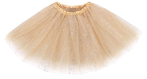 Simplicity Women's 3 Layered Tulle Sparkling Sequin Tutu Skirt, Golden Sequin]()