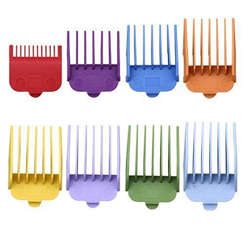 8pcs Professional Guide Combs for Wahl replacement guards Set, 1.79 X 1.52 In Colorful Attachment Guards Guide Comb Fits for Many Wahl, Other Clippers/Trimmers