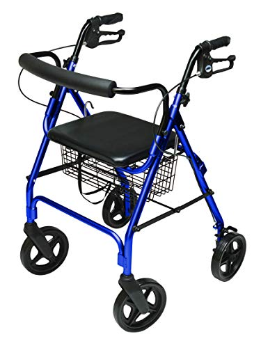 (Lumex Aluminum Rollator with Curved Back Wheels, 8 Inches, Royal Blue RJ4805B)