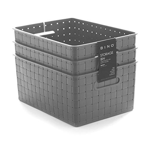 BINO Woven Plastic Storage Basket (3PK- M, Grey)