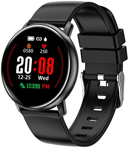 Smart Watch for Android iOS Phones, Sport Fitness Tracker Pedometer Watch with Heart Rate Monitor for Women Men and Kids, Sleep Monitor, Calorie Counter, IP68 Waterproof, Color Touch Screen, Black
