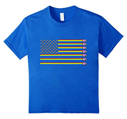 Kids Nyan Cat American Flag Shirt 8 Royal - American With Cat Flag