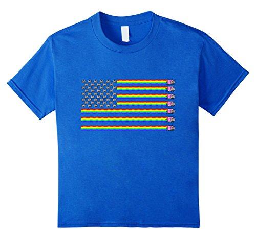 Kids Nyan Cat American Flag Shirt 8 Royal - American Flag Cat