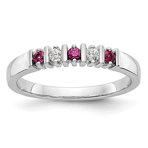 Bar Channel Diamond Band - KIOKORI 14K White Gold Ladies 5-Stone Diamond and Ruby Channel Bar Set Band 1/5-Carat tw ~ Ring Size 7 1/4 ~ by Roy Rose Jewelry