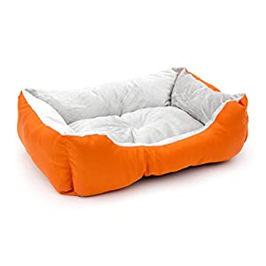 ALEKO PB06OR Plush Pet Cushion Crate Bed for Dogs Cats Medium Machine Washable Indoor Outdoor 20 x 16 x 6 Inches Orange and White 85