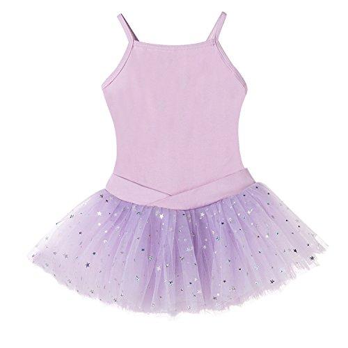 Bindun Girls' Glitter Camisole Tutu Dress Leotard Dance Costumes Purple 2-4Years (Purple Leotard And Tutu)