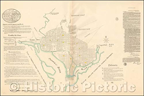 Historic Map - Plan of The City, Intended for The Permanent Seat of The Government of United States, 1790, Pierre L'Enfant - Vintage Wall Art 24in x 16in