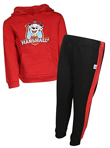 Nickelodeon Paw Patrol Boys 2-Piece Pull Over Fleece Hoodie Sweatpant Set, Red Marshall, Size 3T' ()