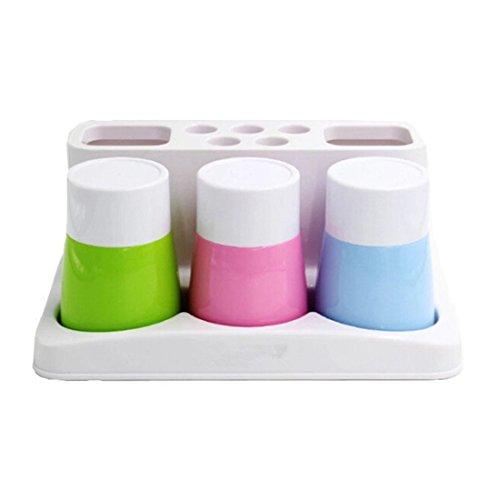YIUHART Plastic Bathroom Toothbrush Holders Toothpaste Stand Holders Storage Rack Box Set (3 Backwards Toothbrush holder)