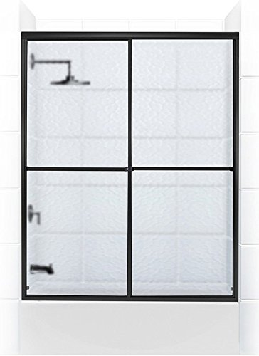 Coastal Shower Doors Challenger Series Sliding Tub Door with Towel bar In Obscure Glass, 66