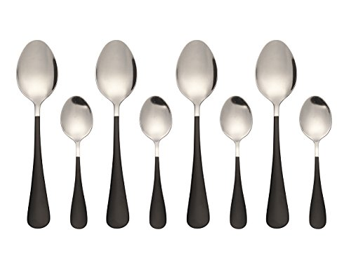 One Handled Bowl (Stainless Steel Oval Dessert Spoons Mini Dessert Spoons Iced Tea Spoons Set of 8(Black))