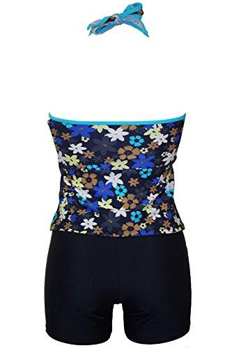 Raivar Tankini Set für Frauen UK Größen 8,10,12,14,16,18,20,22,24 Blue Flower Tankini