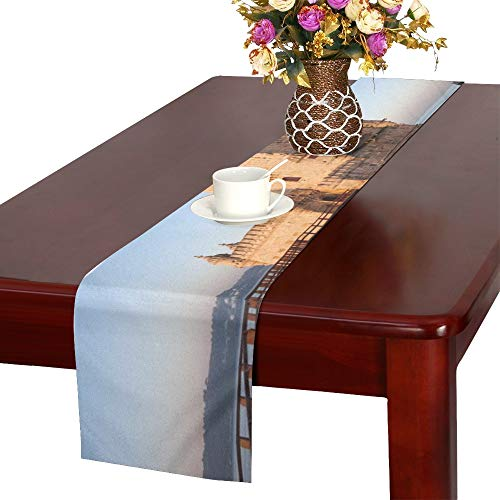 (Belem Tower On Tagus River Morning Table Runner, Kitchen Dining Table Runner 16 X 72 Inch for Dinner Parties, Events, Decor)
