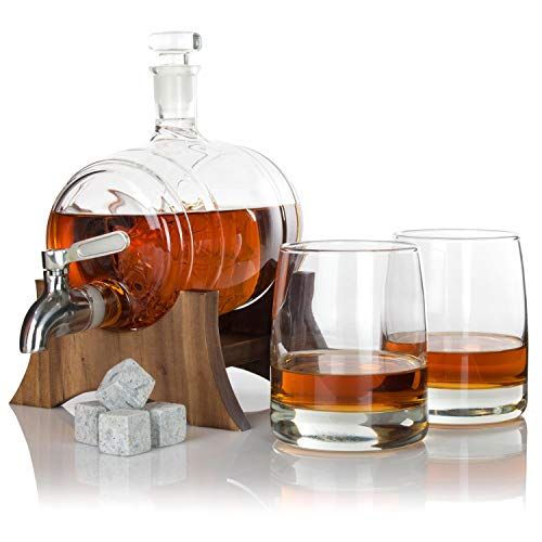 Atterstone Barrel Whiskey Decanter Set, Full Set with 2 Whiskey Glasses, Custom Decanter Stand, 9 Whiskey Stone Set, Stainless Steel Dispenser and Funnel