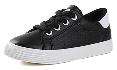 VECJUNIA Mädchen Klassisch Flach Runde Zehe Schnürsenkel Anti-Rutsch-Sohle Freizeitschuh Sneaker Schwarz