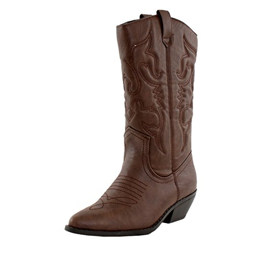 SODA Women's Reno Western Cowboy Pointed Toe Knee High Pull On Tabs Boots, Dark Tan (5.5) ()