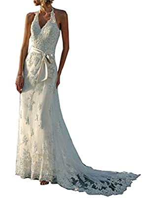Magydre Women's Halter V-Neck Backless Lace Beach Wedding Dress Bridal Gown Sash