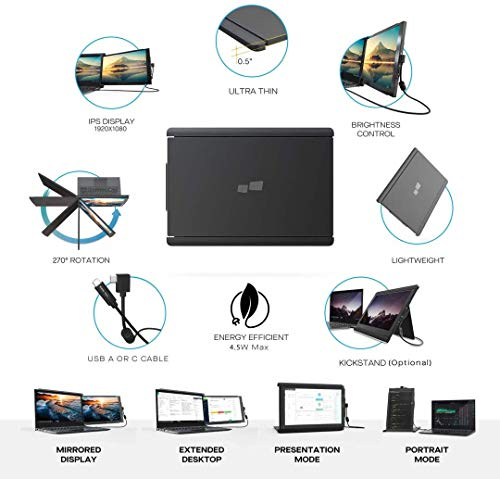 """Trio Slide Portable Monitor for Laptop,The On-The-Go Dual & Triple Screen Laptop Monitor, USB A/Type-C, Lightweight Design,Mac, PC,Linux, Chromebook 13-17 Laptops (One Trio 12.5"""" Monitor)"""