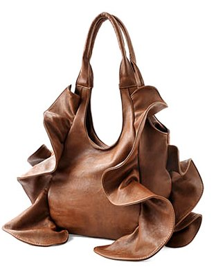 Brown Tremendous Flirty Fun Ruffle Double Handle Oversized Hobo Satchel Purse Handbag Shopper Tote Bag, Bags Central