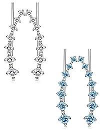 Thunaraz 2 Pairs Leaf Ear Cuffs Climber Earrings Cubic Zirconia Crystal Ear Cuff Wrap for Women Girls