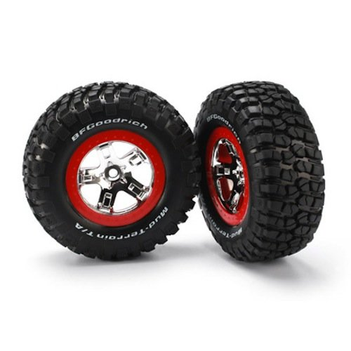Traxxas 5867 BF Goodrich Mud-Terrain T/A KM2 Tires Pre-Glued on Chrome, Red Beadlock-Style wheels (pair) ()