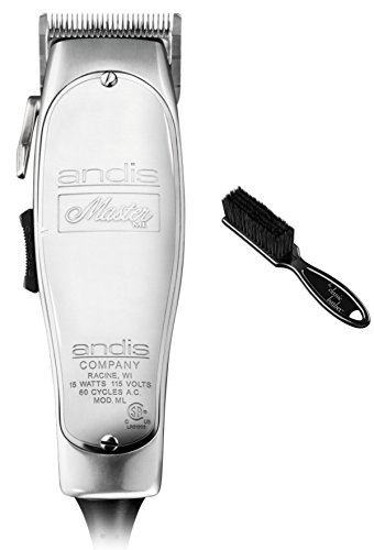 Andis Master 15-Watt Adjustable Blade Hair Clipper, Silver (01557) & Classic Barber Blade Brush