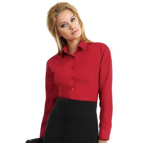 New B y C para mujer de forma elegante con un de manga larga para de trabajo de visita blusa de traje de neopreno para mujer de manga corta de mujer negro