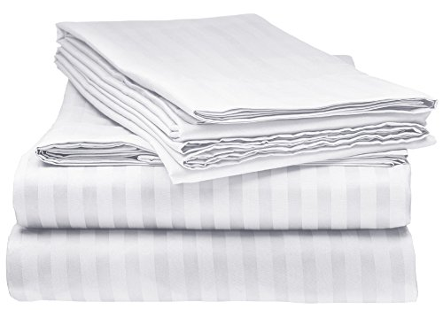ELEGANTE 1800 Count Egyptian Comfort Striped 4pc Queen Bed Sheet Set, White (For Sets Sale Queen Bed)