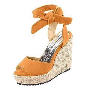 MTENG Women's Fashion Open Toe Wedges Thick Bottom Lace-Up Beach Shoes Roman Sandals (35-43)