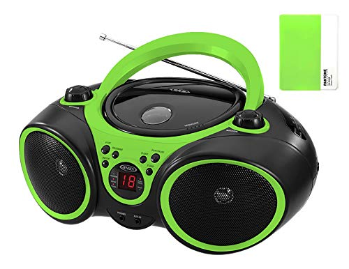 - Jensen CD Boombox CD-490 Green Portable Sport Stereo CD Player with AM/FM Radio and Aux Line-in & Headphone Jack Limited Edition (Green)