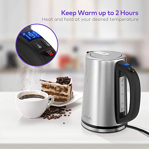 Electric Kettle, VAVA Real-Time LED Display Tea Kettle with Temperature Control, 1.7L Stainless Steel Fast Boiling Hot Water Kettle, 2H Keep Warm & Memory Function by VAVA (Image #4)