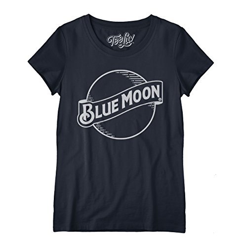 Women's Blue Moon Beer Shirt - Scoop Neck Blue Moon Graphic Tee Shirt (Medium) Beer Womens Scoop Neck T-shirt