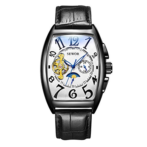 SEWOR Mens Automatic Business Dress Tonneau Moon Phase Wrist Watch Mechanical Self Wind (Black White)