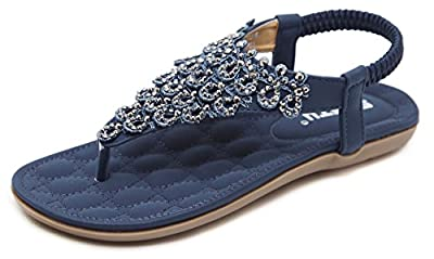 DolphinBanana Women Beach Wear Flat Sandals Glitter Shoes Cruise Holiday Bohemian Flip Flops Blue