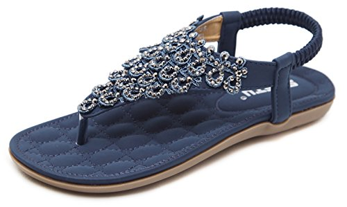 Women's Summer Blingbling Thong Flat Sandals, Navy Blue T-Strap Flip Flops Bohemian Floral Rhinestones Solid Comfy Elastic Back Strap Closure, Padded Low Top Beach Wear Shoes 2019 Holiday - Blue Bling Rhinestone