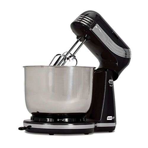 Dash Stand Mixer (Electric Mixer for Everyday Use): 6 Speed Stand Mixer with 3 qt Stainless Steel Mixing Bowl, Dough Hooks & Mixer Beaters for Dressings, Frosting, Meringues & More - Black by Dash