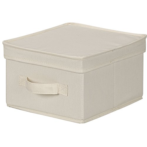 Household Essentials 111 Storage Box with Lid and Handle - Natural Beige Canvas - Medium (Small Storage Baskets With Lids)