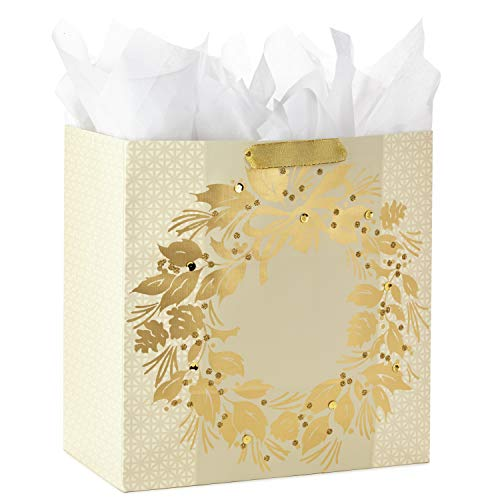 - Hallmark Extra Large Christmas Gift Bag with Tissue Paper (Gold Wreath)