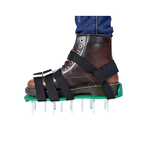 HnjPama 2018 Upgraded Lawn Aerator Shoes, 26 Spikes Aerating Lawn Soil Sandals with 4 Adjustable Buckles Straps & 1 Heal Elastic Band- Green by HnjPama (Image #1)