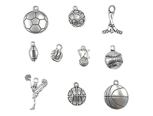 Sports Charms (Kinteshun Alloy Ball Games Sports Charm Pendant for DIY Jewelry Making Accessaries(10pcs,Antique Silver Tone))