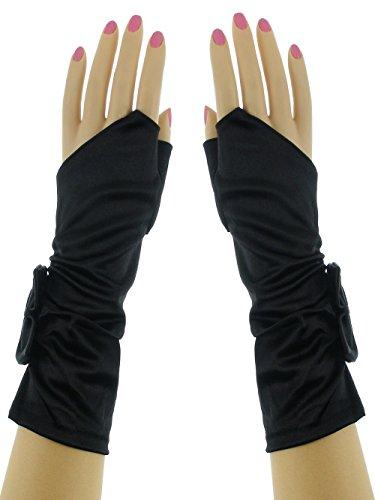 (Below Elbow Formal Gathered Ribbon Fingerless Stretchy Shinny Satin Gloves Black)